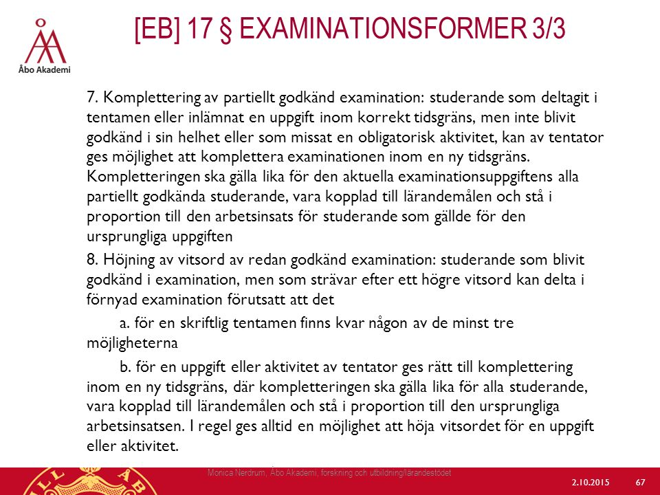 [eb] 17 § Examinationsformer 3/3
